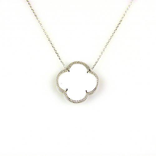 zilveren collier ketting met witte steen bloem klaver