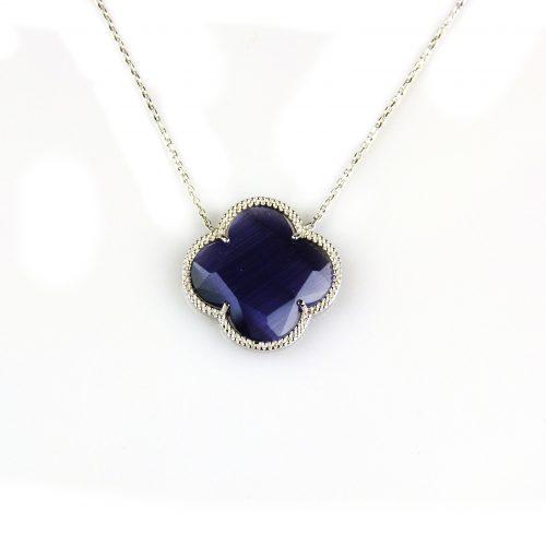 zilveren collier ketting met paarse steen bloem klaver