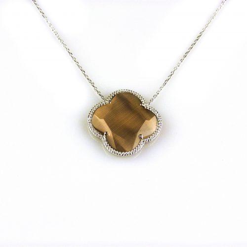 zilveren collier ketting met bruine steen bloem klaver