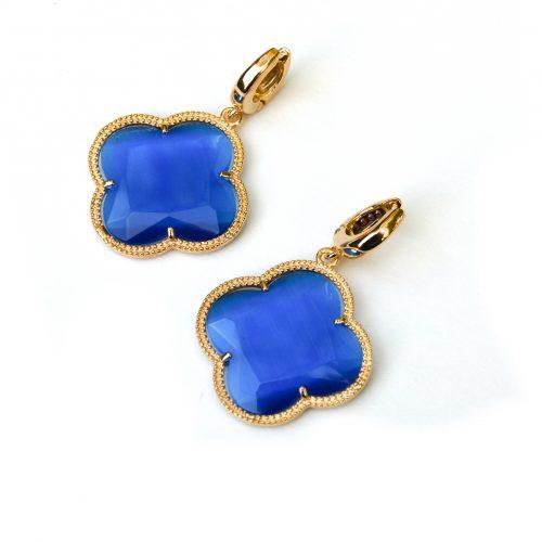 zilveren oorbellen zilveren oorringen geel goud verguld blauwe stenen bloem klaver