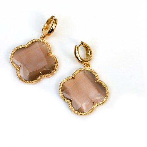 zilveren oorbellen zilveren oorringen geel goud verguld bruine stenen bloem klaver