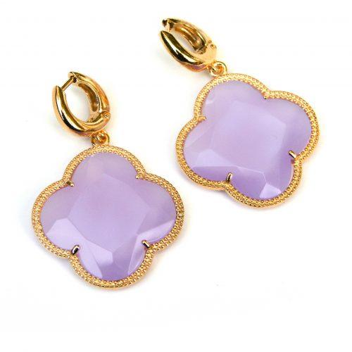 zilveren oorbellen zilveren oorringen geel goud verguld lila roze stenen bloem klaver