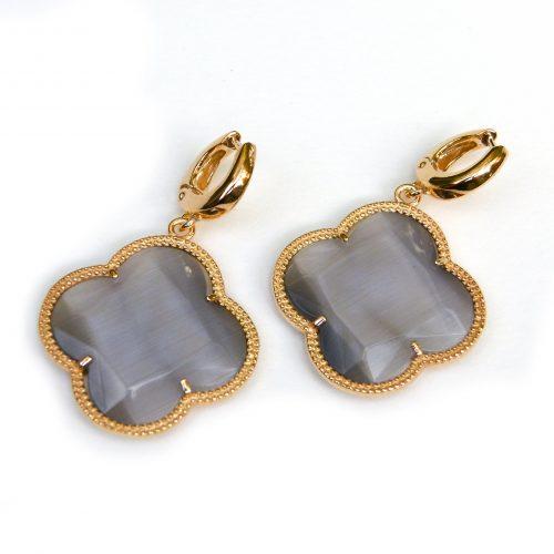 zilveren oorbellen zilveren oorringen geel goud verguld grijze stenen bloem klaver