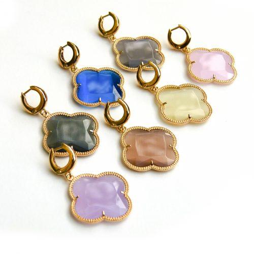 zilveren oorbellen zilveren oorringen geel goud verguld gekleurde stenen