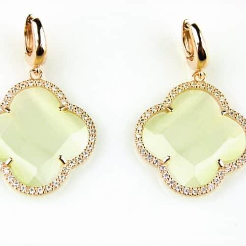 zilveren oorbellen oorringen roos goud verguld parelmoer steen en cubic zirconnia