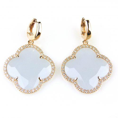 zilveren oorbellen oorringen roos goud verguld blauwe steen en cubic zirconnia