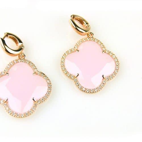 zilveren oorbellen oorringen roos goud verguld roze steen en cubic zirconnia