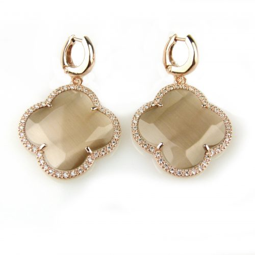 zilveren oorbellen oorringen roos goud verguld bruine steen en cubic zirconnia