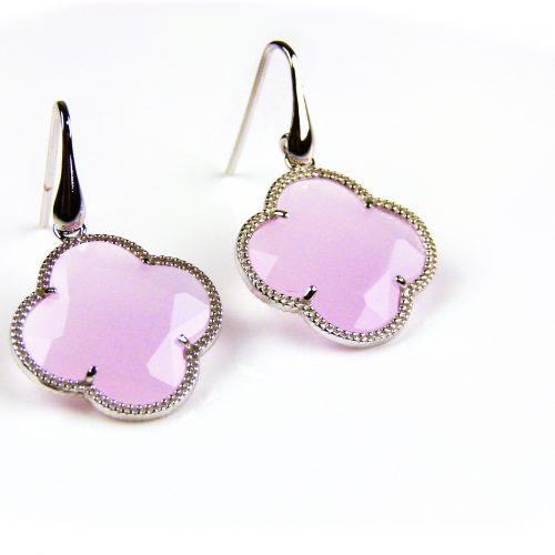 zilveren oorbellen zilveren oorringen roze steen klaver bloem