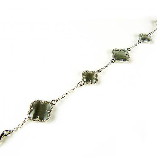 zilveren armband grijze stenen bloemen klavers