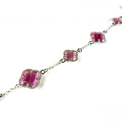 zilveren armband roze stenen bloemen klavers