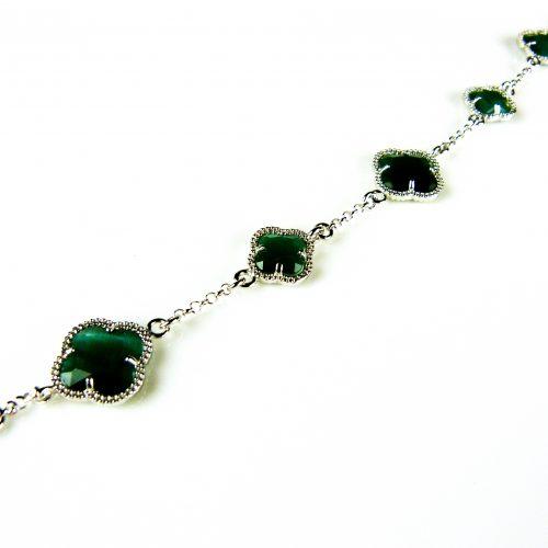 zilveren armband groene stenen bloemen klavers