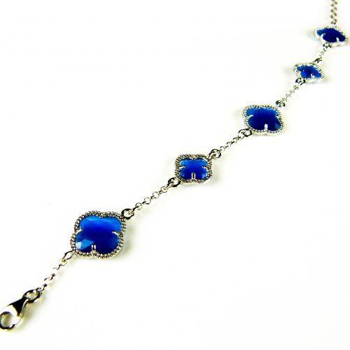 zilveren armband blauwe stenen bloemen klavers