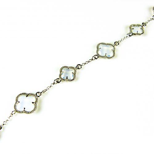 zilveren armband opaal stenen bloemen klavers