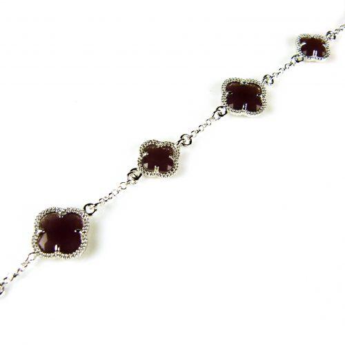 zilveren armband bordeaux stenen bloemen klavers