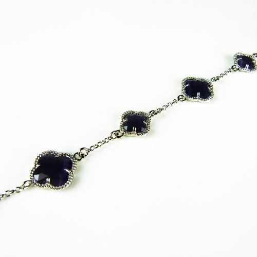 zilveren armband donkerblauw stenen bloemen klavers