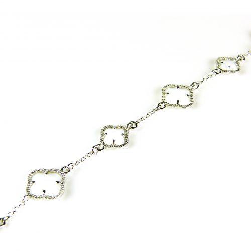 zilveren armband wit stenen bloemen klavers
