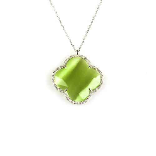 fijne zilveren ketting met hanger groene steen bloem