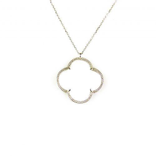 fijne zilveren ketting met hanger witte steen bloem klaver