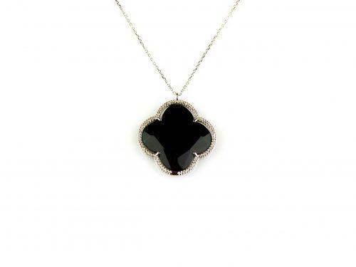 fijne zilveren ketting met hanger zwarte steen bloem klaver