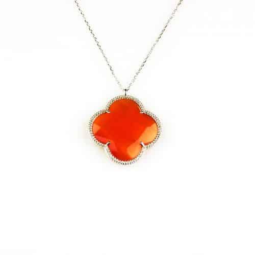 fijne zilveren ketting met hanger oranje steen bloem klaver