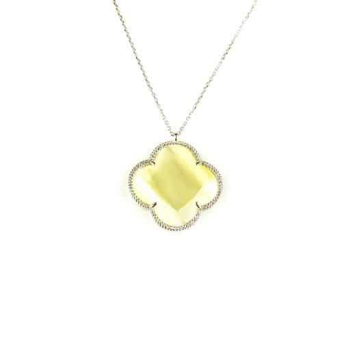 fijne zilveren ketting met hanger parelmoer steen bloem klaver