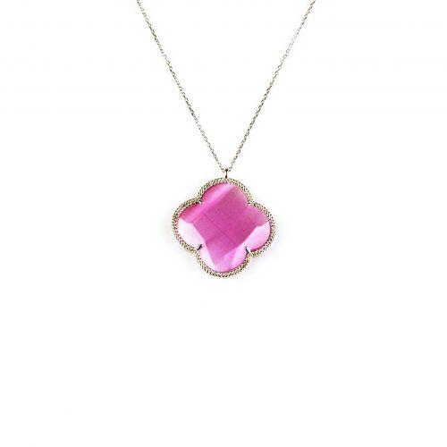 fijne zilveren ketting met hanger roze steen bloem klaver