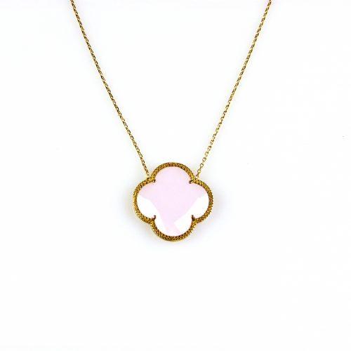 fijne zilveren ketting geelgoud verguld met hanger roze bloem klaver
