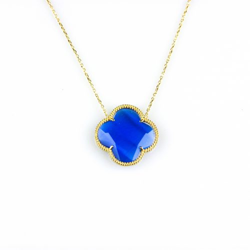 fijne zilveren ketting geelgoud verguld met hanger blauwe bloem klaver