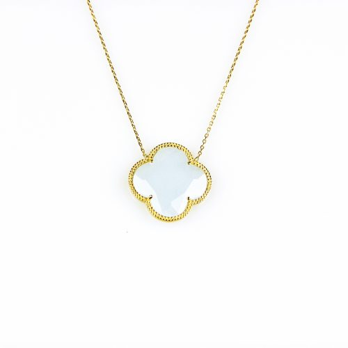 fijne zilveren ketting geelgoud verguld met hanger lichtblauwe bloem klaver