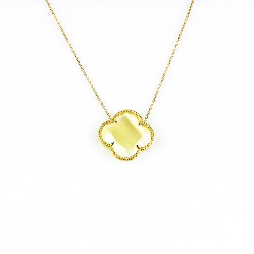 fijne zilveren ketting geelgoud verguld met hanger parelmoer bloem klaver