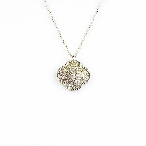 fijne zilveren ketting met hanger klaver bloem geze