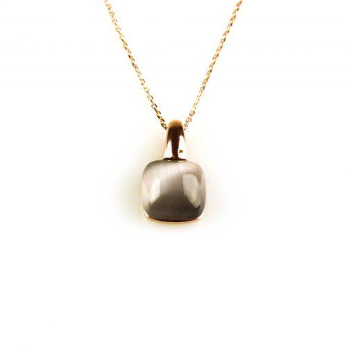 fijne zilveren ketting rosegoud verguld met hanger grijze steen