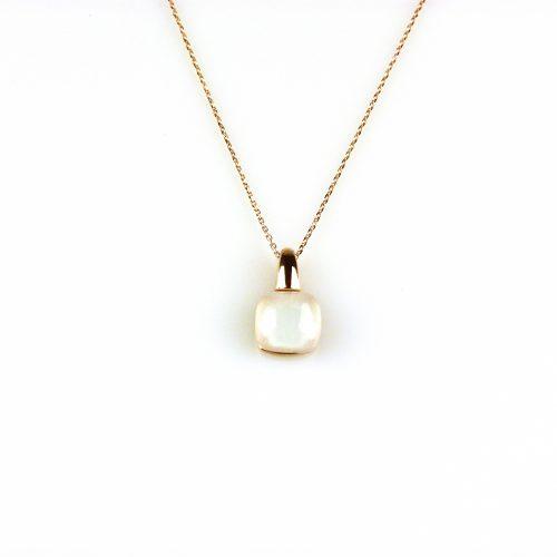 fijne zilveren ketting rosegoud verguld met hanger witte steen