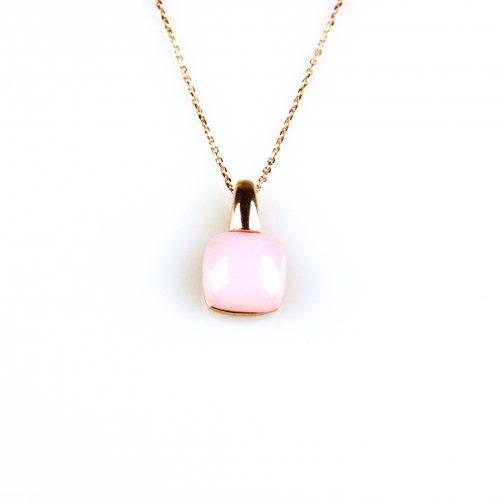 fijne zilveren ketting rosegoud verguld met hanger roze steen
