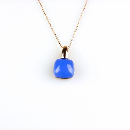 fijne zilveren ketting rosegoud verguld met hanger blauwe steen
