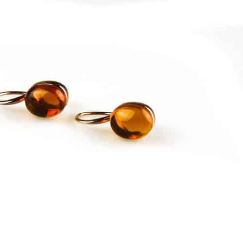 zilveren oorbellen roségoud verguld gele steen zilveren oorbellen roségoud verguld gele steen