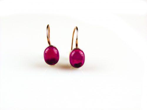 zilveren oorbellen roségoud verguld rode steen zilveren oorbellen roségoud verguld rode steen