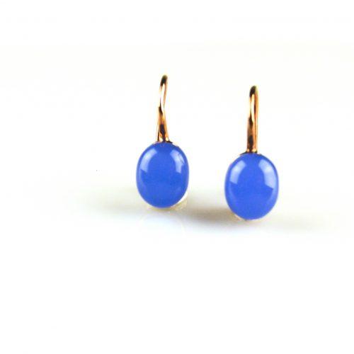 zilveren oorbellen roségoud verguld blauwe steen zilveren oorbellen roségoud verguld blauw steen