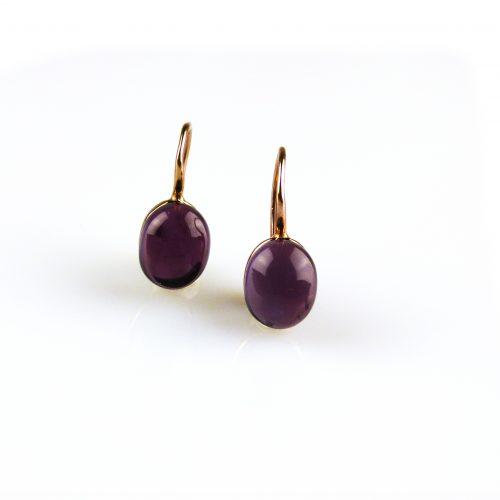 zilveren oorbellen roségoud verguld paarse steen zilveren oorbellen roségoud verguld paarse steen