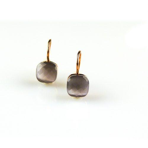 zilveren oorbellen roségoud verguld grijze steen zilveren oorbellen roségoud verguld grijze steen