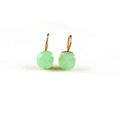 zilveren oorbellen roségoud verguld groene steen zilveren oorbellen roségoud verguld groene steen