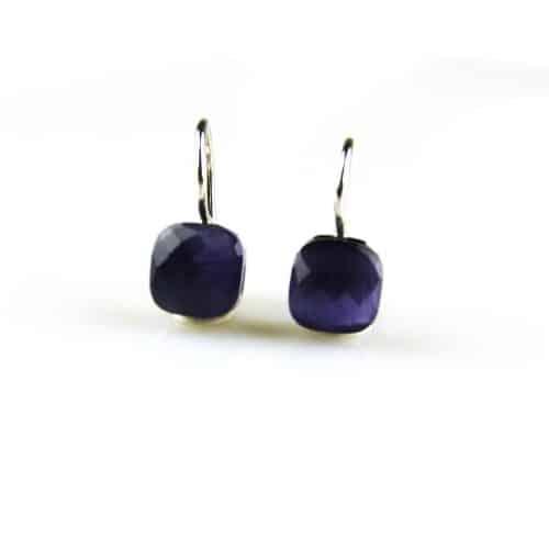 zilveren oorbellen paarse steen zilveren oorbellen paarse steen
