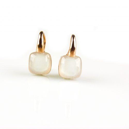 zilveren oorbellen roségoud verguld witte steen zilveren oorringen roséguld verguld witte steen