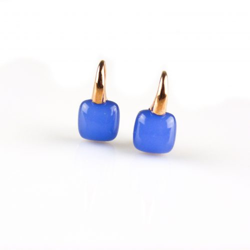 zilveren oorbellen roségoud verguld blauwe steen zilveren oorringen roséguld verguld blauwe steen
