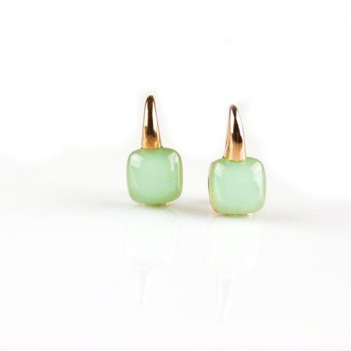 zilveren oorbellen roségoud verguld groene steen zilveren oorringen roségud verguld groene steen