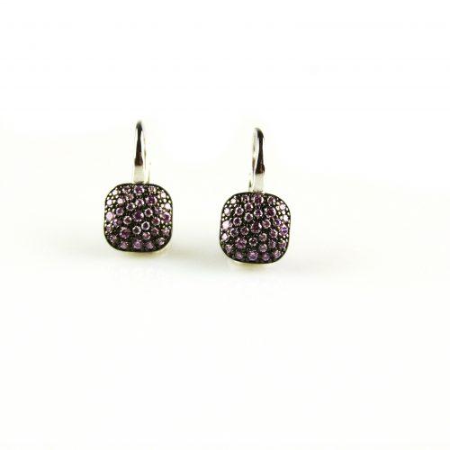 zilveren oorbellen zilveren oorringen gezet met roze steentjes