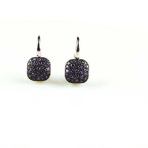 zilveren oorbellen zilveren oorringen gezet met paarse steentjeszilveren oorbellen zilveren oorringen gezet met paarse steentjes