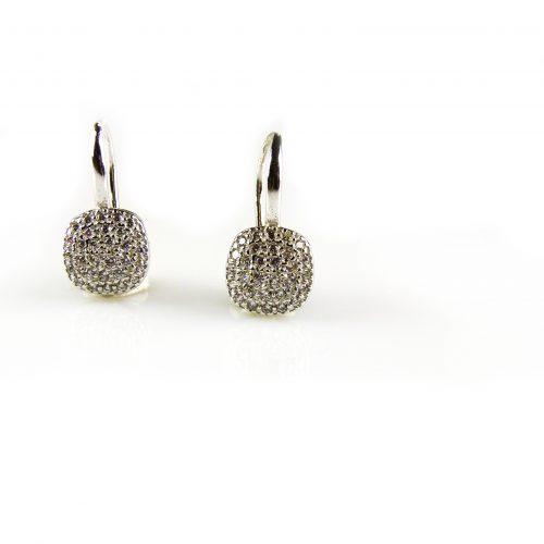 zilveren oorbellen oorringen gezet met cubic zirco
