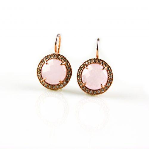 zilveren oorbellen oorringen roségoud verguld gezet met roze steen en cubic zirconia